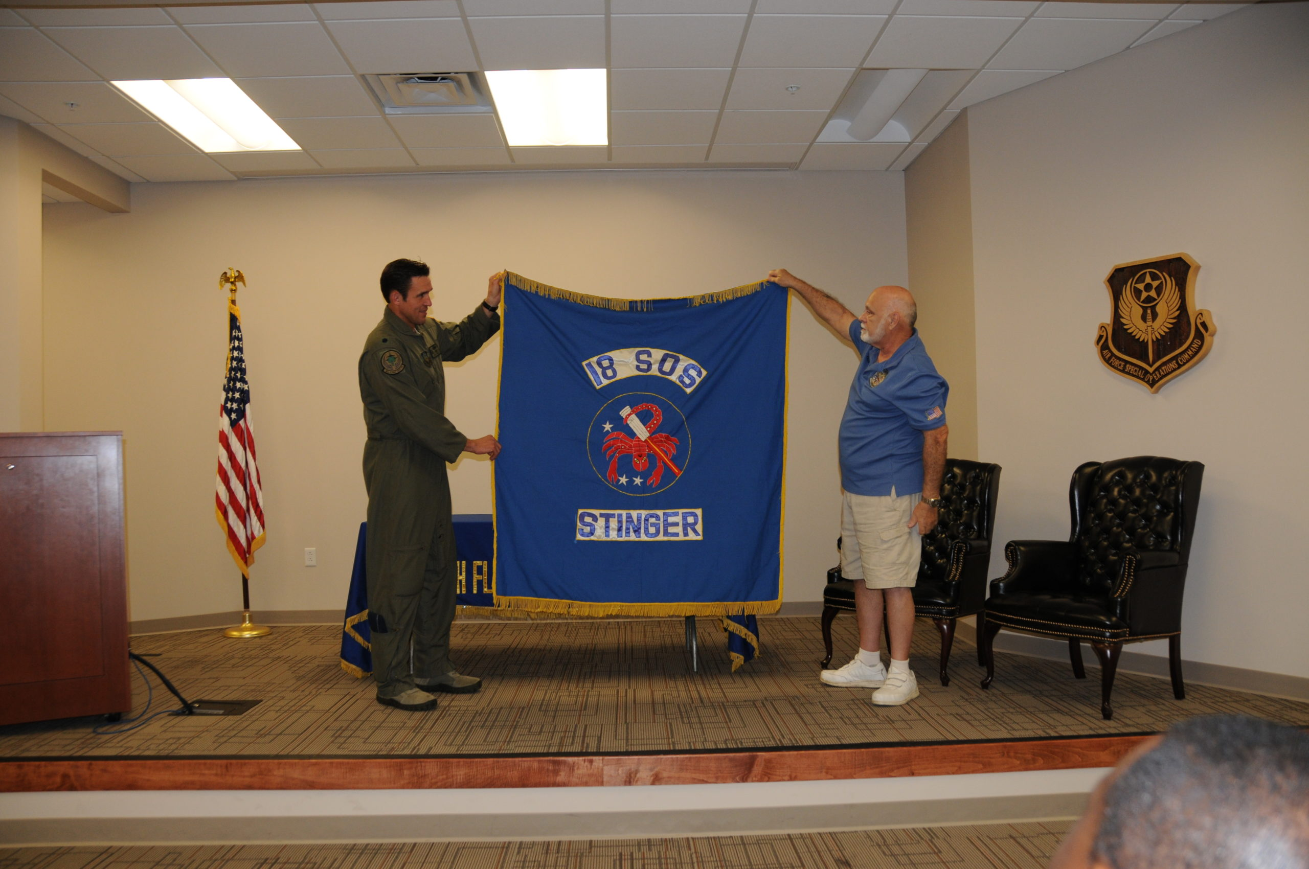 18th SOS DaNang Flag Presented to 18th FLTS(2)