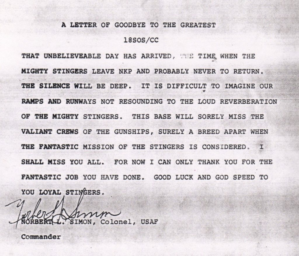 Letter from Colonel Norbert Simon